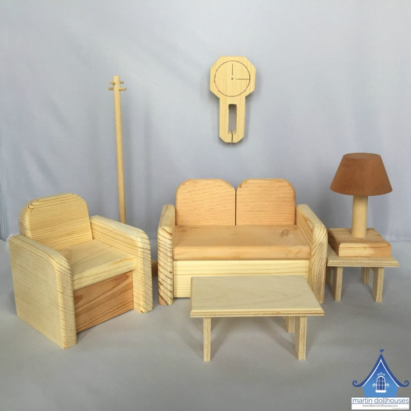 Unfinished Barbie living room wood furniture used for DIY Upholstering Wood Barbie Chair