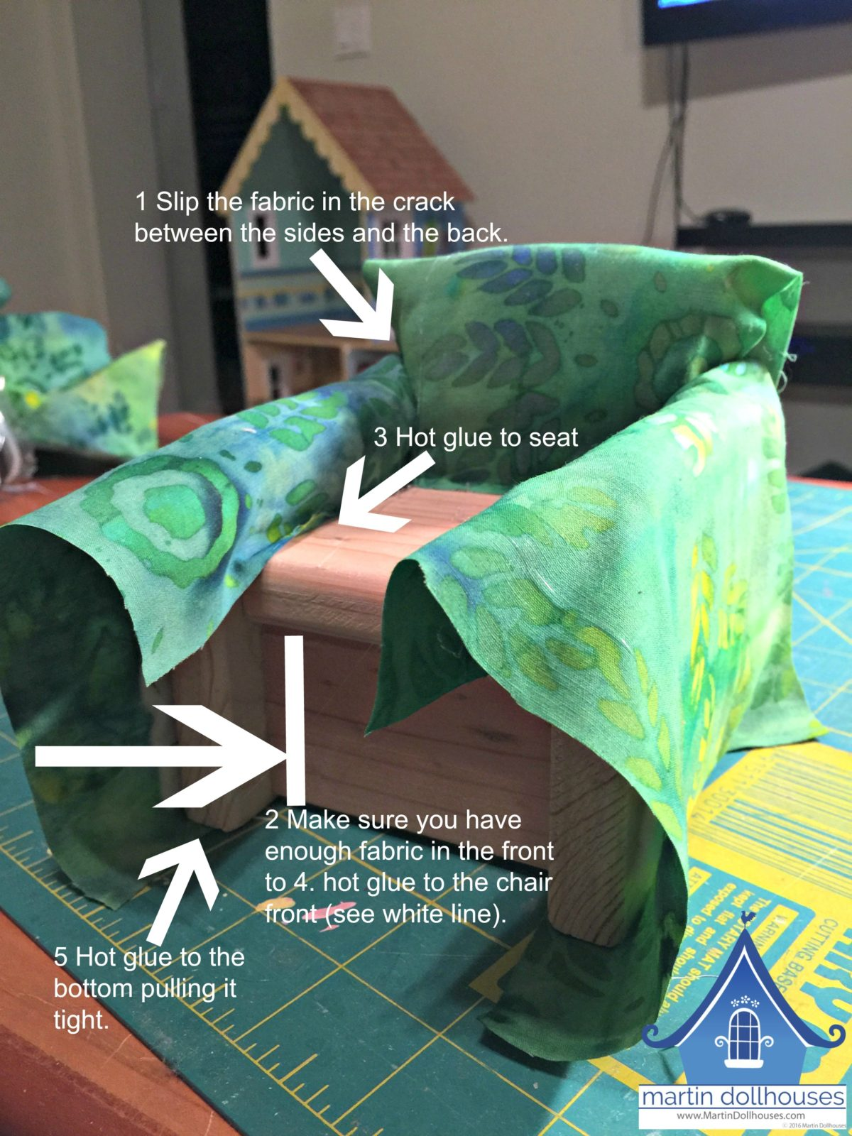 DIY Upholstering Barbie Wood Chair instructions with arrows