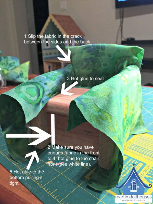 Instructions and detail for DIY Upholstering Wood Barbie Chair