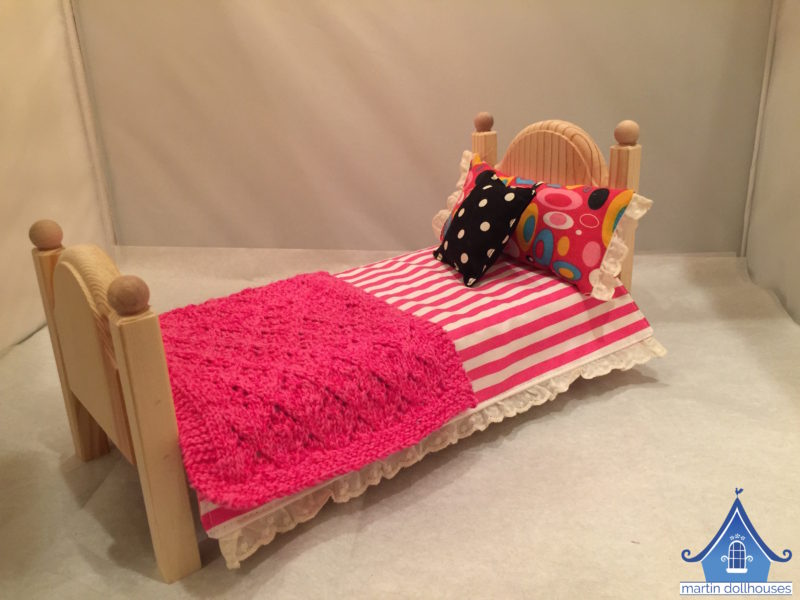 DIY Barbie bedding pink stripes and black polka dot pillow