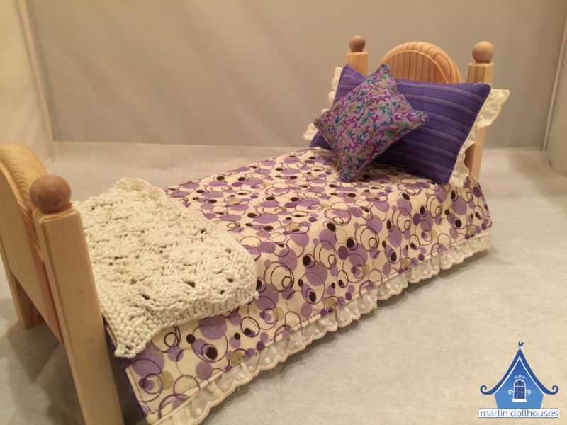 DIY Barbie Bedding purple circles and pillows