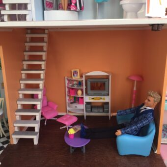 Wooden Barbie Country Dollhouse Living Room