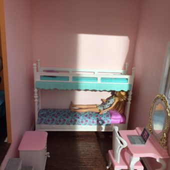 Wooden Barbie Country Dollhouse Kids Bedroom