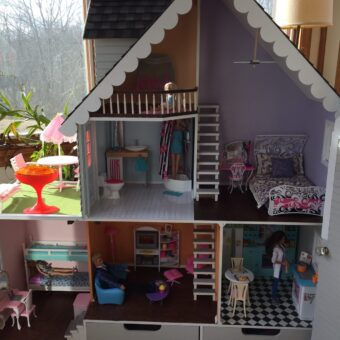 Wooden Barbie Country Dollhouse inside