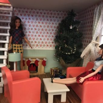 Wooden Barbie Alpine Dollhouse Living room, painted wood furniture