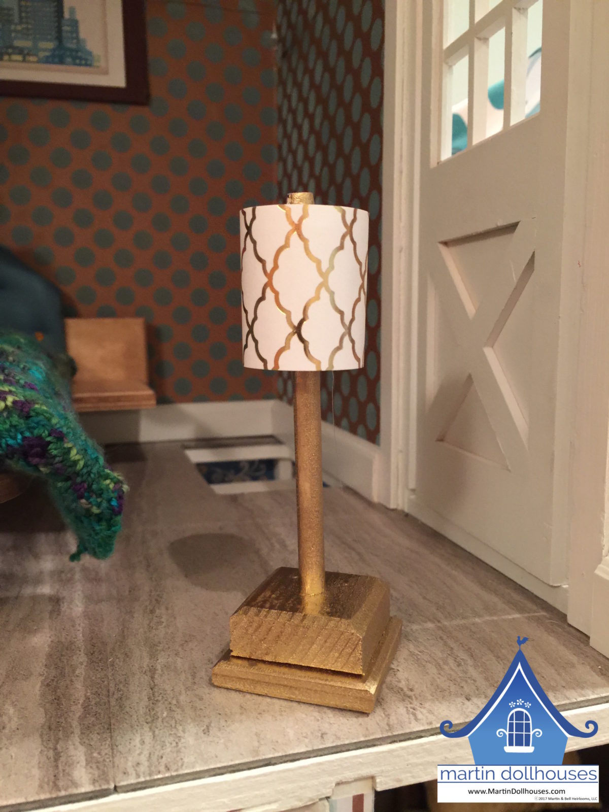 Barbie dollhouse lamp with paper shades for bedroom nightstand