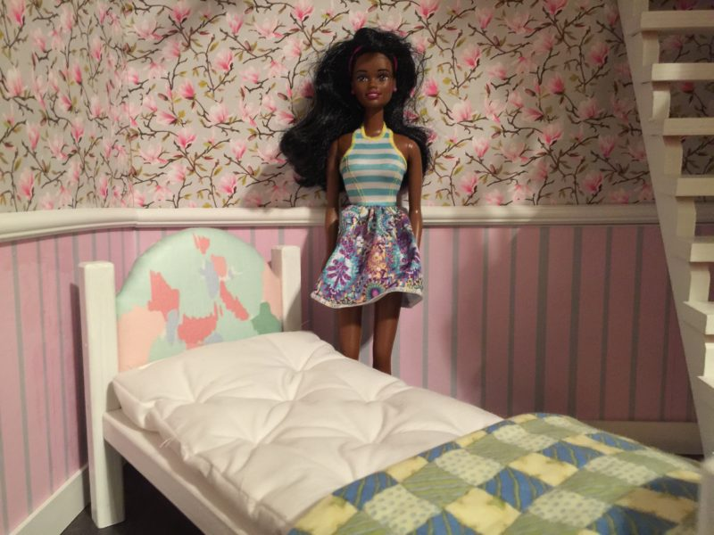 Finished Barbie Doll Bed DIY Mattress for wooden bed removable version.