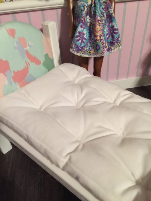 Finished Barbie Doll bed DIY mattress for wooden bed.